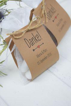 """Gastgeschenke - Hochzeitsgastgeschenk """"Danke"""" vintage Kraftpapier - ein Designerstück von Formatreich-Hochzeitskarten bei DaWanda"""