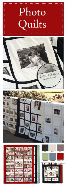 I WANT ONE OF THESE!!!  Up to 45 photos on a handmade, throw sized photo quilt.  Sentimental and practical!