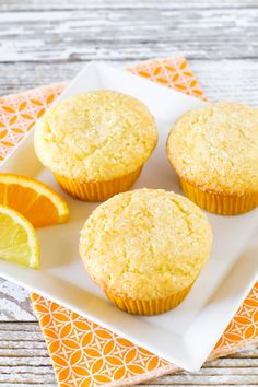Fresh orange and fresh lemon give these light muffins a delicious brightness! Thanks to Sarah Bakes Gluten Free Gluten Free Muffins, Gluten Free Treats, Vegan Treats, Gluten Free Baking, Gluten Free Desserts, Vegan Desserts, Vegan Gluten Free, Gluten Free Recipes, Dairy Free