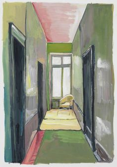 Corridor with Yellow Chair, 2012 gouache on paper 10 1/2 x 7 1/4 inches