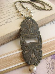 Keyhole Pendant Necklace repurposed vintage by whybecause on Etsy