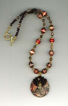Paper beads used in  a necklace
