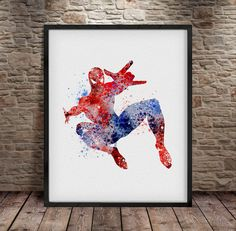 Spider man Spider man poster Superhero Watercolor by iLoveArtPrint