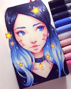 This is such good Copic art! Copic Marker Art, Copic Art, Copic Markers, Copic Drawings, Cute Drawings, Colorful Drawings, Pretty Art, Cute Art, Arte Copic