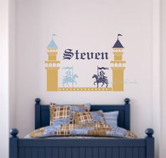 Wall Decal Knights jousting - includes castle towers and personalized name