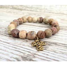 Faith Bracelet  Gold Cross Charm Charm Bracelet by LoveMyssa