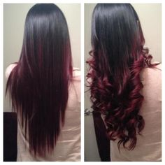 Love this!  Red ombre hair because it makes the black hair look stylish!