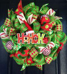 HOHOHO Wreath  Whimsical Christmas Wreath  Red by AllMeshedUp2014, $105.00