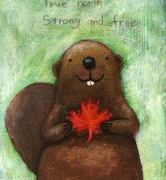 ORIGINAL Illustration Painting Canadian Beaver with Maple leaf by MiKa Art $34.99, via Etsy.