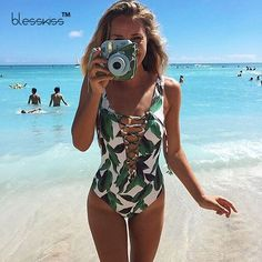 BLESSKISS Sexy Swimwear Women One Piece Swimsuit 2017 Summer 1 Bathing Suit Swim Lady Print Beach Wear Bandage Monokini Swimsuit-in One-Piece Suits from Sports & Entertainment on Aliexpress.com | Alibaba Group