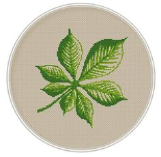 Chestnut leaf heart Сross stitch pattern, cross stitch PDF, Instant Download, needlepoin, Spring, Summer, tree cross stitch, MCS070