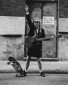Angus Young...we've been trying to talk Andy into being him for Halloween for a couple years now. Angus Young, Ac Dc, Music Love, Music Is Life, Rock Music, Rock And Roll Bands, Rock N Roll, Mode Rock, Bon Scott