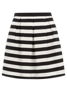 Petite black strip skirt