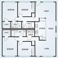 614 Sycamore - Four Bedroom Unit 2 - Square Feet Condo Floor Plans, Modern House Floor Plans, Apartment Floor Plans, Square Floor Plans, 4 Bedroom Apartments, Family House Plans, Square Feet, House Design, Flooring