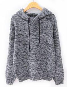 Jersey punto con capucha manga larga-Gris fotos