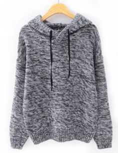 Grey Hooded Long Sleeve Drawstring Knit Sweater pictures