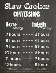 Slower cooker time conversions chart #slowcooker #crockpot