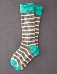 Snuggly striped socks with contrast toes, heels and cuffs. Except I would knit these, because seams in your socks are totally inferior.