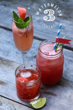3 Watermelon Cocktails on Squirrelly Minds (prosecco, gin or bourbon)