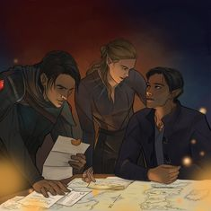 Cassian, Feyre, and Rhys