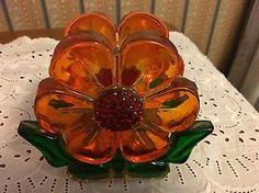 Retro Vintage 70S Lucite Acrylic Orange Flower Napkin/Envelope Holder  | eBay