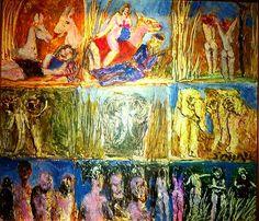 An oil on canvas depicting one of the famous story series of veteran Pakistani master painter Tassaduq Sohail