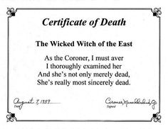 certificate of death wicked witch of the east | The Wicked Witch of ...