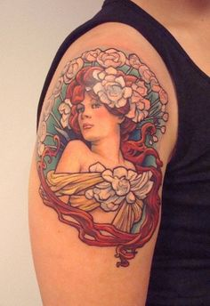 been thinking about getting a mucha tattoo as well. haven't seen a mucha bust so this was interesting to stumble upon. the details are so clear! Maybe thigh area Art Nouveau Tattoo, Upper Arm Tattoos Designs, Tattoo Designs For Girls, Alphonse Mucha, Mucha Tattoo, Cute Tattoos, Beautiful Tattoos, Tatoos, Wicca