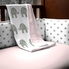 Pink and Gray Elephants Crib Blanket and pink sheets