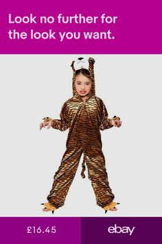 f73eed0db0b3 Child TIGER Fancy Dress Outfit Jungle Fun Animal Costume Book Week Age 3-13