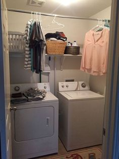 New Small Laundry Room Organization Space Saving Closet Ideas Small Laundry Closet, Laundry Closet Makeover, Laundry Room Organization, Laundry Room Design, Organization Ideas, Laundry Tips, Small Laundry Space, Small Spaces, Laundry Rack
