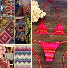 Mi by Mi swimwear Tribal triangle swimwear. Small coverage bottom. Made in Brazil. S -34 -A- B Mi by Mi swimwear Swim Bikinis