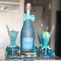 Welcome Baby Boy Hospital Gift Champagne Gifts, Glitter Bottles, Welcome Baby Boys, Hospital Gifts, Liquor Bottles, Baby Boy Gifts, Wine Gifts, Prosecco, Just Giving