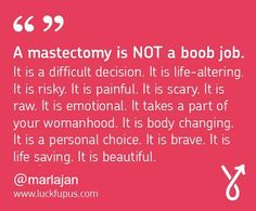 One Wig Stand found a picture I posted, and asked if they could use my mastectomy quote on their Facebook page