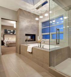 Slaapkamer + badkamer - kleuren (stenen), bad
