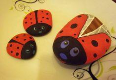 ladybugs painting on rocks