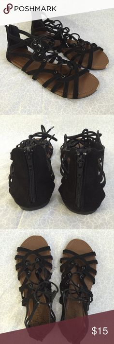 Strappy Sandals black •black, strappy sandals purchased from Wet Seal •zip-up on the heel •size 10 •slight wear on the toes (see picture) •no trading •no Mercari •price negotiable Wet Seal Shoes Sandals