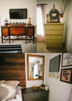 Using a buffet a a dresser & media center in a bedroom - lizmarieblog.com