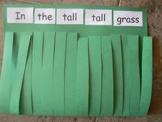 """I haven't read the book """"In the Tall, Tall Grass,"""" but you can use this activity even without the book.  Students write a riddle so that others can figure out what animal (or tool?) is hidden in the grass.  Share these Readers Theater style (in helper-pairs?) and your students will want to create more of their own!  If they want to expand and give more clues, go for it!  :)"""