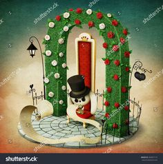 Fantasy illustration with green arch and  red royal chair and  rabbit with  list.