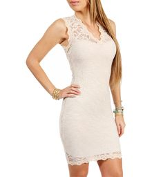 Ivory V-Neck Lace Fitted Dress