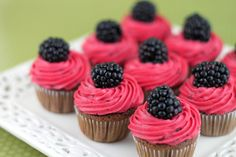 gorgeous for the dessert buffet!  Mini Chocolate Cupcakes with Blackberry Buttercream.