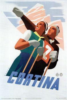 "PG162 ""Cortina"" poster by Mario Puppo (1930) #Cortina #Dolomiti #Dolomites #Dolomiten #Dolomitas #DoloMitici #DolomitiHeart"