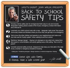 """Former host of America's Most Wanted shares his """"Back to School Safety Tips"""" Family Safety, Kids Safety, America's Most Wanted, School Hacks, School Tips, School Ideas, Safe Schools, School Safety, School Chalkboard"""