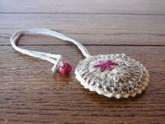Hand embroidered Felt Necklace Wool Grey Textile by myRainbowWorld, $15.00