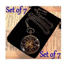 Set of 7 Pocket Watches with Chains $210 Engravable Gunmetal Mechanical by PocketwatchPurveyor #pocketwatch #groomsmengift #wedding #customengrave #engraving