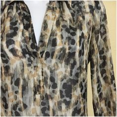 "LOFT Top Size S LOFT Leopard Print Blouse • Sheer • Long Sleeve • Black, Tan & Gray Colors • Size S • 18"" Pit To Pit • 25"" Length • 15"" Shoulder Width LOFT Tops Blouses"