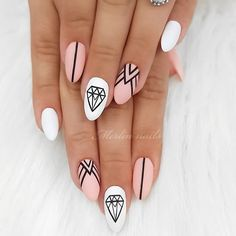 Trendy Pink Geometric Manicure ❤ Totally Hip Summer Nail Designs Your Frie. - Nail Design Ideas, Gallery of Best Nail Designs Acrylic Nails Natural, Almond Acrylic Nails, Best Acrylic Nails, Acrylic Nail Designs, Nail Art Designs, Nails Design, Clear Acrylic, Almond Nails, Acrylic Art
