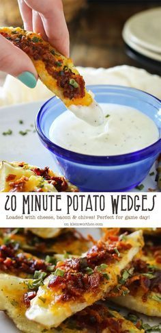 game day food 20 Minute Potato Wedges are loaded with cheese, bacon & chives. These are the perfect game day snack. It's an easy potato skins recipe you'll love! Potato Snacks, Potato Appetizers, Appetizer Recipes, Snack Recipes, Cooking Recipes, Potato Skins Appetizer, Game Day Recipes, Cooking Games, Cooking Classes