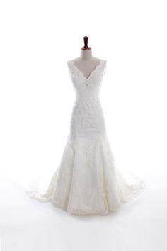 V-neck empire waist trumpet / mermaid lace wedding dress